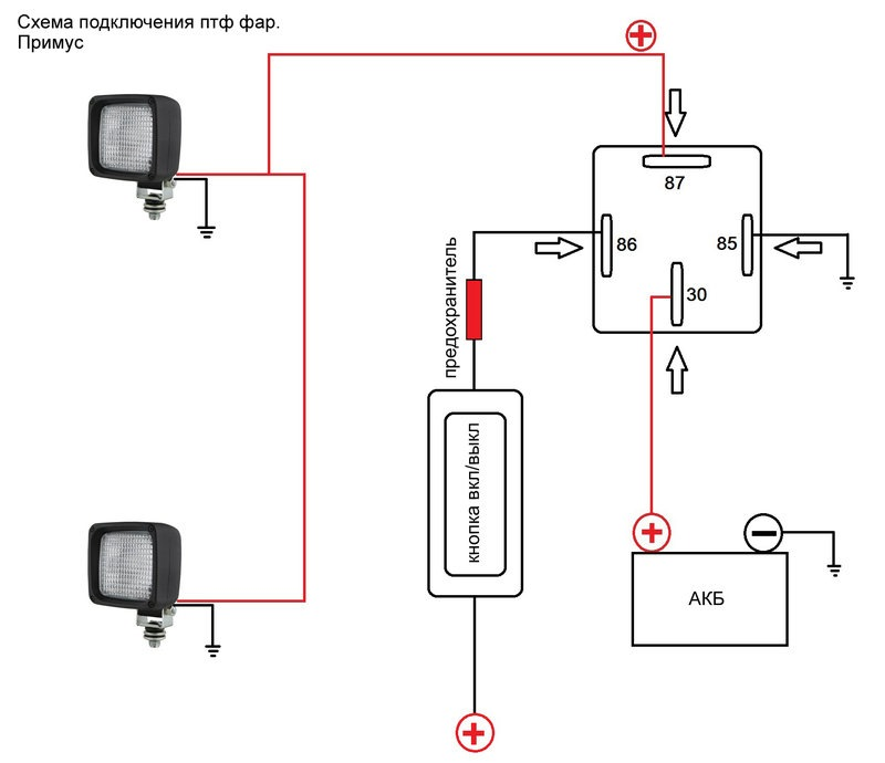 Схема подключения птф через реле